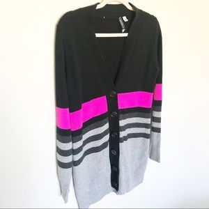 Autumn Cashmere - Black, Pink, & Gray Cardigan